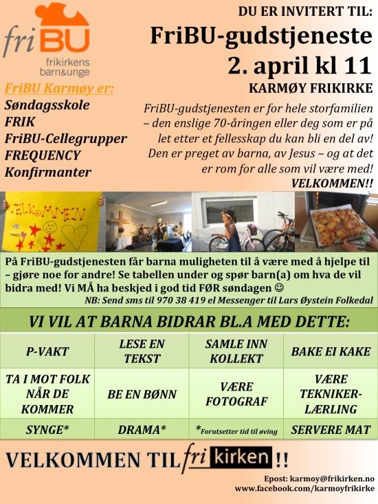Invitasjon FriBU gudstjeneste APRIL 2017