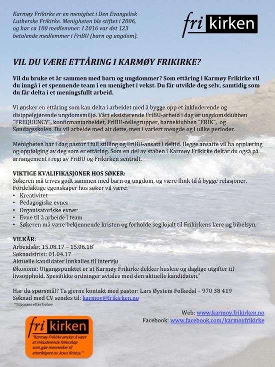 Utlysning ettåring Karmøy Frikirke 2017
