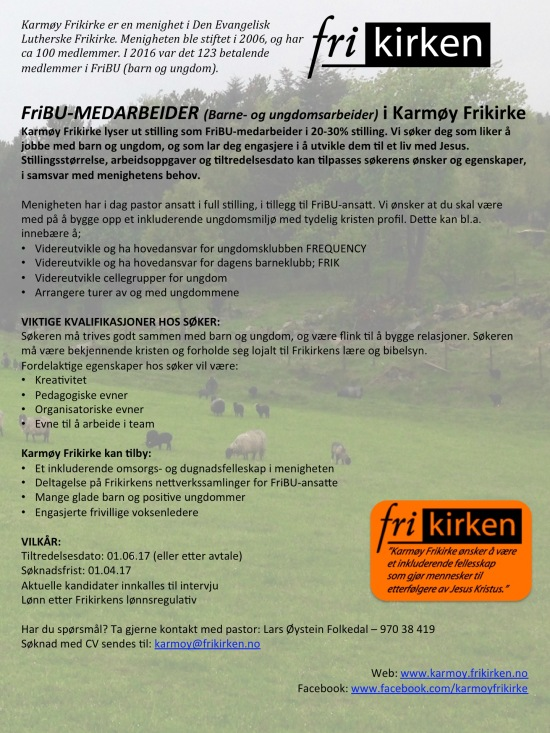 Utlysning FriBU-medarbeider Karmøy Frikirke 2017